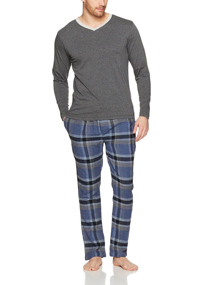 Kenneth Cole New York Men's V-Neck and Flannel Set Dark Grey Heather top/deep Royal soho Plaid Pant L