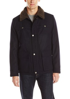 Kenneth Cole New York Men's Wool Car Coat with Sherpa Collar