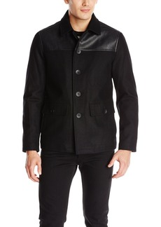 Kenneth Cole New York Men's Wool Coat with Faux Leather Details