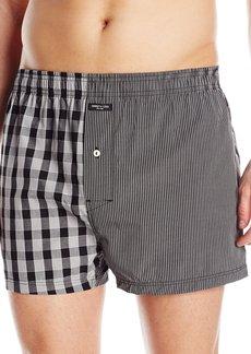 Kenneth Cole New York Men's Woven Boxer Box Plaid/Black Pin Stripe