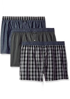 Kenneth Cole New York Men's Woven Boxer Set Box Plaid Chambray/Black Pinstripe