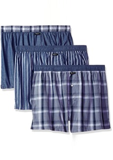 Kenneth Cole New York Men's Woven Boxer Set Jefferson Plaid Chambray/Medieval Blue Wide Stripe