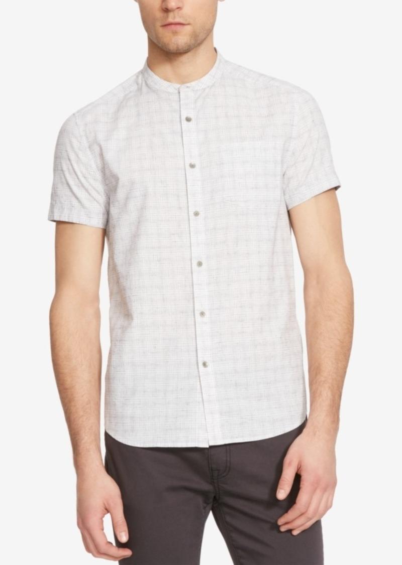 Kenneth Cole New York Men's Yarn-Dye Check Mandarin-Collar Short-Sleeve Shirt