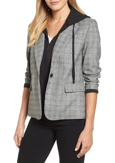 Kenneth Cole New York Menswear Removable Hood Plaid Blazer
