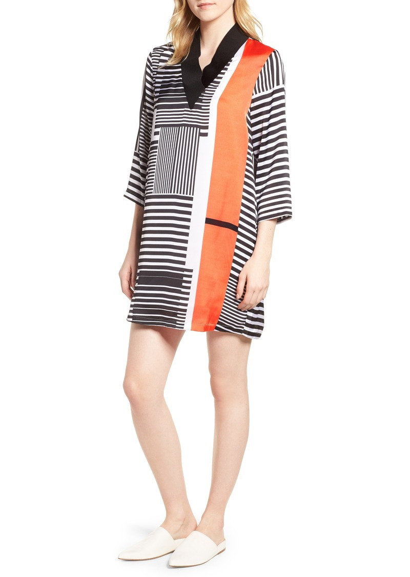 Kenneth Cole New York Mix Stripe V-Neck Shift Dress