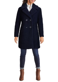 Kenneth Cole New York Notch Collar Curly Faux Shearling Coat