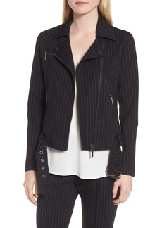 Kenneth Cole New York Pinstripe Moto Jacket