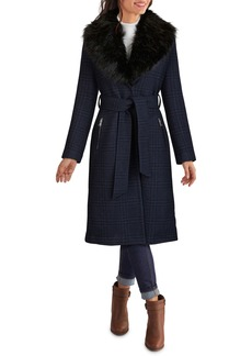 Kenneth Cole New York Plaid Belted Coat with Removable Faux Fur Collar