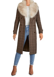 Kenneth Cole New York Plaid Long Coat with Removable Faux Fur Collar