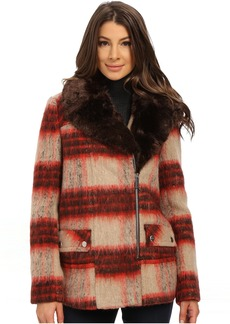 Kenneth Cole Plaid Wool Asymmetrical Zip Front Coat