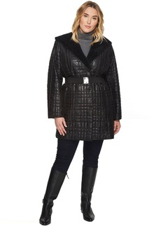 Plus Size Sherpa Bonded Quilted/Hooded Robe Coat with Hood and Belt