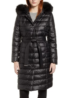 Kenneth Cole New York Quilted Coat with Faux Fur Collar