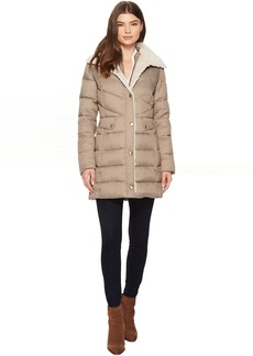 Quilted Coat with Sherpa Collar
