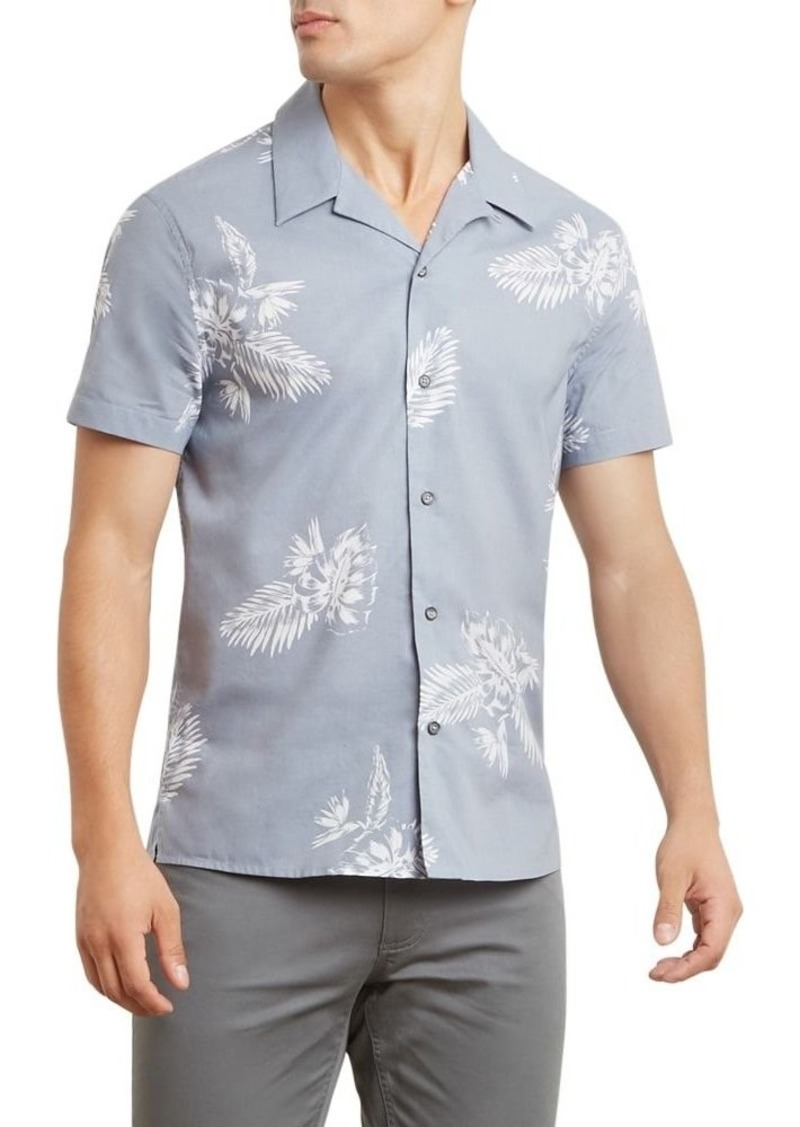 Kenneth Cole New York Short-Sleeve Etched Tropical Print Detail