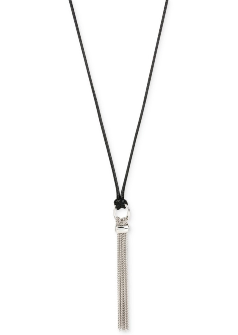Kenneth Cole New York Multi Chain Tassel Pendant Adjustable Pulley Long Necklace