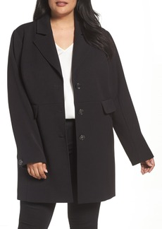 Kenneth Cole New York Single Breasted Ponte Coat (Plus Size)