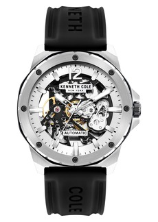 Kenneth Cole New York Skeletal Automatic Silicone Strap Watch, 45mm