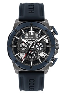 Kenneth Cole New York Skeletal Chronograph Silicone Strap Watch, 45mm