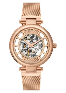 Kenneth Cole New York Skeletal Dial Automatic Mesh Strap Watch, 34mm