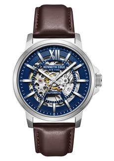Kenneth Cole New York Skeleton Dial Leather Strap Automatic Watch, 43.5mm