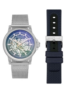 Kenneth Cole New York Skeleton Dual Band Automatic Watch, 44mm