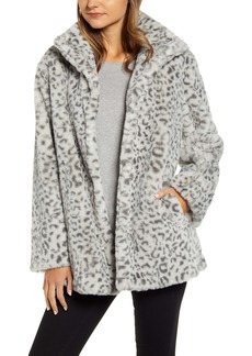 Kenneth Cole New York Snow Leopard Faux Fur Jacket