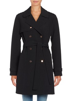 KENNETH COLE NEW YORK Solid Double-Breasted Trench Coat
