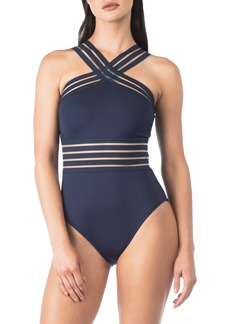 Kenneth Cole New York Stompin in My Stilettos High Neck One-Piece Swimsuit