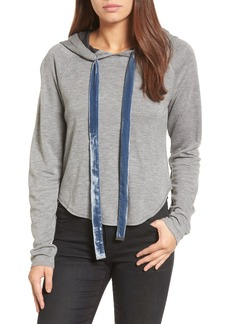 Kenneth Cole New York Velvet Tie Crop Hoodie
