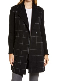 Kenneth Cole New York Windowpane Check Knit Sleeve Coat