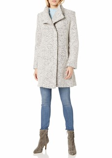 Kenneth Cole New York Women's Asymmetrical Pressed Boucle Wool Coat zinc