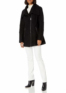 Kenneth Cole New York Women's Asymmetrical Pressed Boucle Wool Swing Back Coat