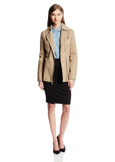 Kenneth Cole New York Women's Asymmetrical Zip Belted Cotton Jacket