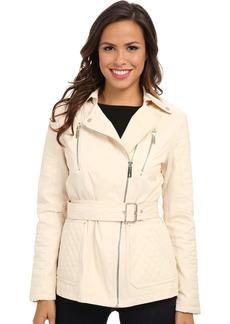 Kenneth Cole New York Women's Asymmetrical Zip Belted Cotton Jacket