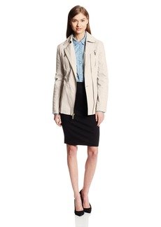 Kenneth Cole New York Women's Asymmetrical Zip Belted Cotton Jacket  X-Small