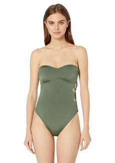 Kenneth Cole New York Women's Bandeau One Piece Swimsuit  S