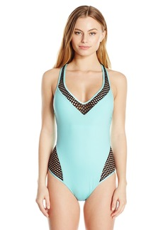 Kenneth Cole New York Women's Beat of the Street Plunge One Piece Swimsuit  M