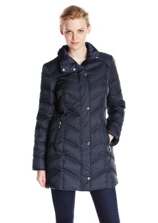 Kenneth Cole New York Women's Chevron Down Coat with Faux Fur Trim