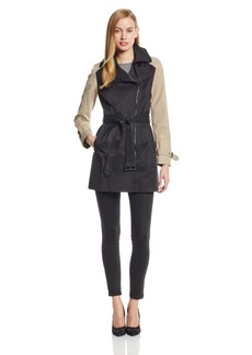 Kenneth Cole New York Women's Color Block Moto Trench Coat Black/Tan