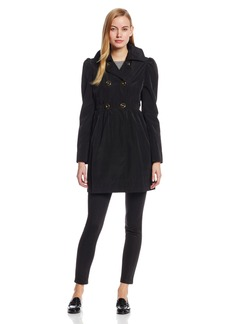 Kenneth Cole New York Women's Double Breasted Trench Coat with Shoulder Detail