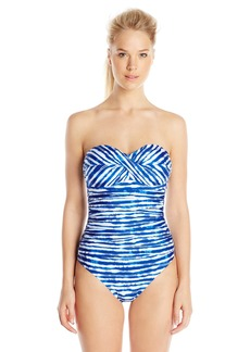 Kenneth Cole New York Women's Electric Stripe Twist Bandeau One Piece Swimsuit