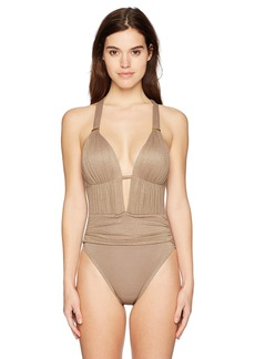 Kenneth Cole New York Women's Front Keyhole Cross Back One Piece Swimsuit