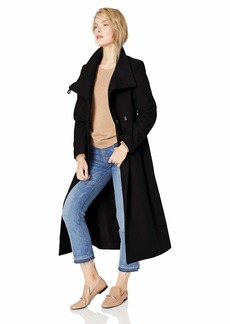 Kenneth Cole New York Women's full length button fencer coat with belt Outerwear -black