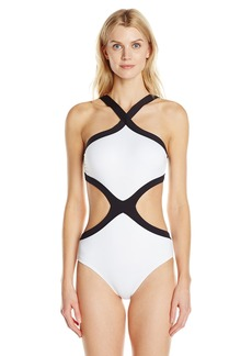 Kenneth Cole New York Women's Got The Beat Hi Neck Monokini One Piece Swimsuit