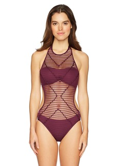Kenneth Cole New York Women's Hall Of Fame Solid Crochet One Piece Swimsuit  Extra Large