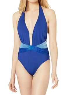 Kenneth Cole New York Women's Halter Plunge Tummy Toner Mio One Piece Swimsuit  M