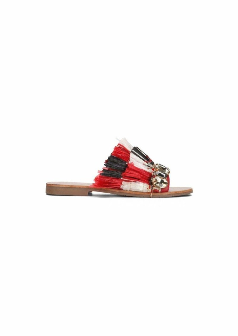 Kenneth Cole New York Women's Heron Slide Sandal with Fringe and Jewels   M US