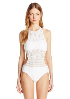 Kenneth Cole New York Women's Hi-Neck Monokini One Piece Swimsuit