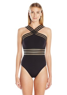 Kenneth Cole New York Women's High Neck Cross Front Banded One Piece Swimsuit Black // Stompin in y Stiletto's edium