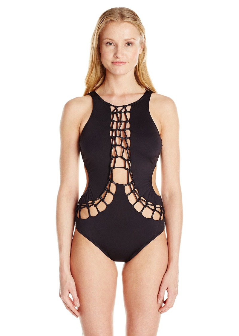 Kenneth Cole New York Women's High Neck Lace Front One Piece Swimsuit